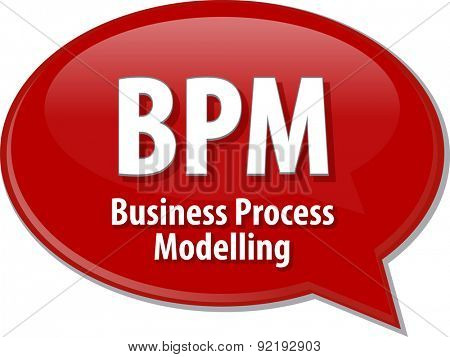 Speech bubble illustration of information technology acronym abbreviation term definition BPM Business Process Modelling
