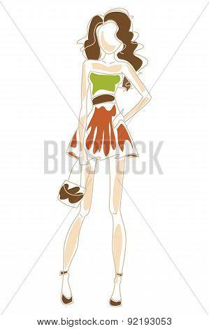 Fashionable Girl. Vector Illustration