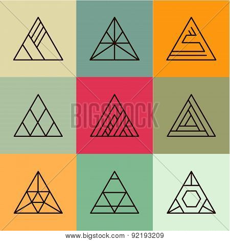 Set of geometric shapes, triangles. Trendy logotypes. Geometric line icons.