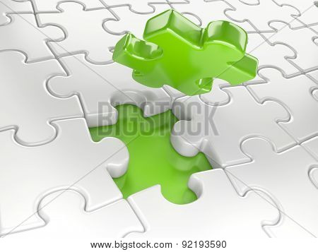 Business Concept - Final Piece Of Jigsaw Puzzle