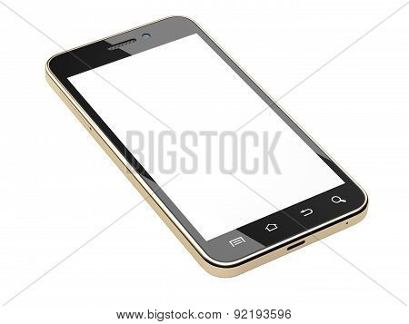 Gold Smartphone With Blank Screen.