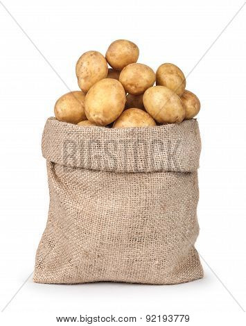 New Potatoes In The Bag Isolated On White Background