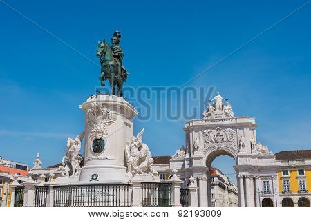 Commerce Square And Statue Of King Jose Lisbon Portugal