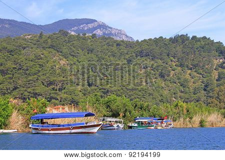 Pleasure Boats On Dalyan River, Turkey