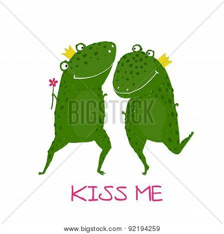 Two Frogs Prince and Princess in Love Kissing