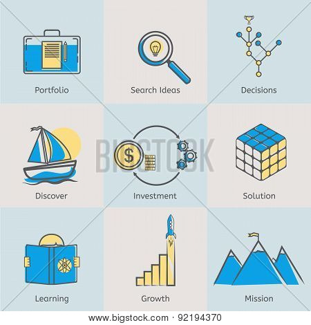 Flat line icons set of portfolio, search ideas, business decisions, solutions, discover, money inves