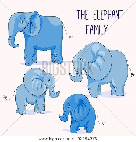 Illustration of Cute cartoon elephant family.