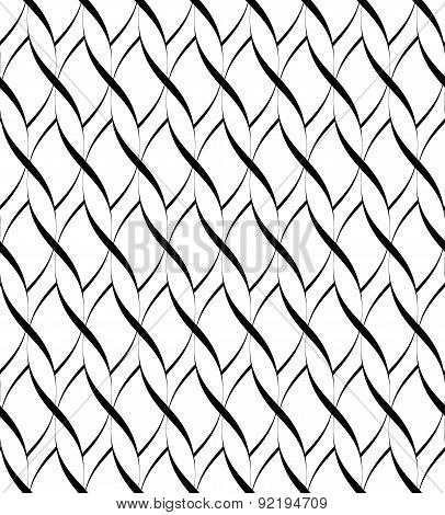 Black And White Seamless Pattern Twist Line Style, Abstract Background