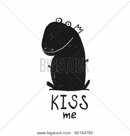 Prince Frog Kiss Me Black and White Drawing