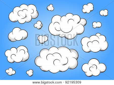 Cartoon Clouds On Blue Background