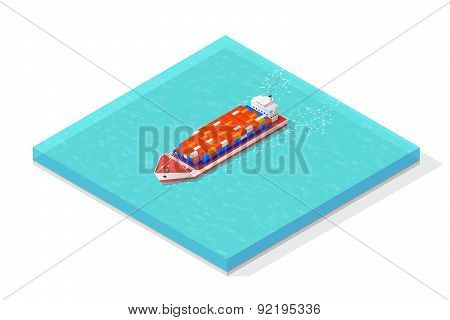 Isometric cargo ship carrying various multi colored containers. Vector illustration concepts.