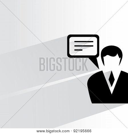 communication, businessman and speech bubble