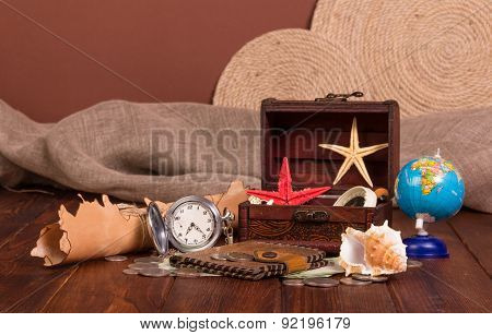 Things for travel on wooden table