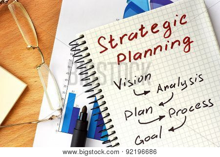 Notepad with  Strategic planning