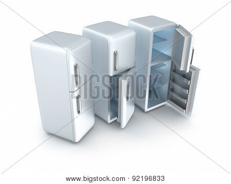 Three Refrigerators Isolated On White