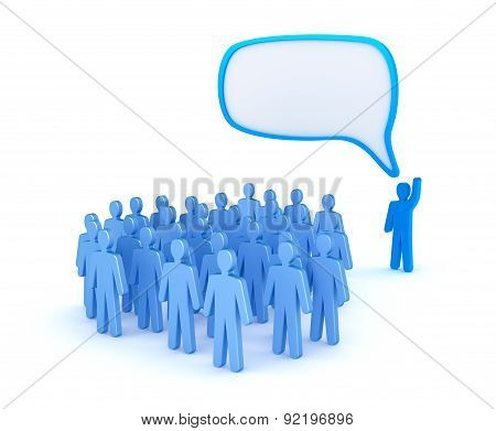 The Leader Speaking To A Crowd Isolated On White