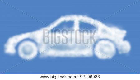 Cloud Dream Car Isolated On Light-blue