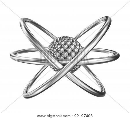 Atom - Realistic Model From Steel Over White Background