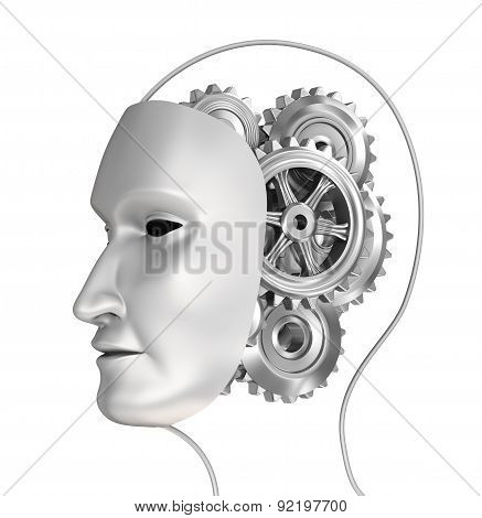 Head With Gears In Brain, 3D Illustration