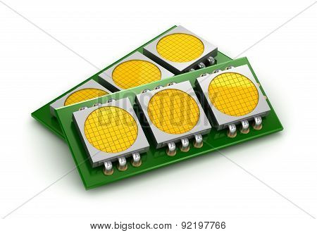 Led Chip Panels Over White, 3D Illustration