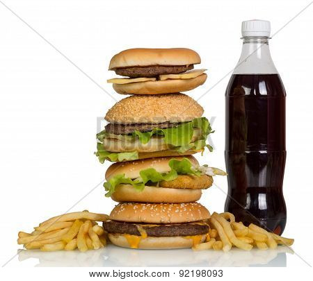 Burgers, french fries and cola