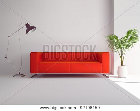 Red sofa with lamp and palm tree