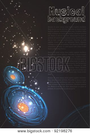 Vintage Musical Background with Speakers, Particles and Your Text. Vector Illustration for Party fly