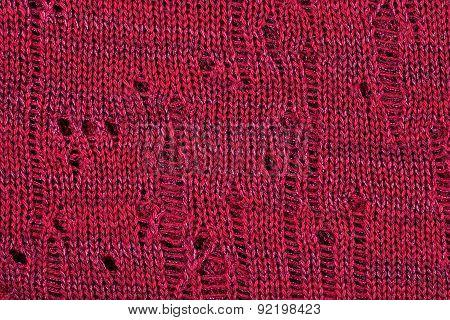 Dark Red Openwork Melange Stockinet As Background