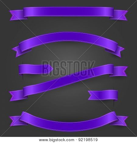 Bright purple ribbons and banners set for your website, poster, flyerm artwork. Vector illustration