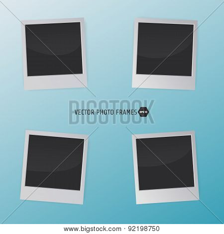 Retro Photo Frames on a blue background. Vector illustration for your artwork, posters, flyers.