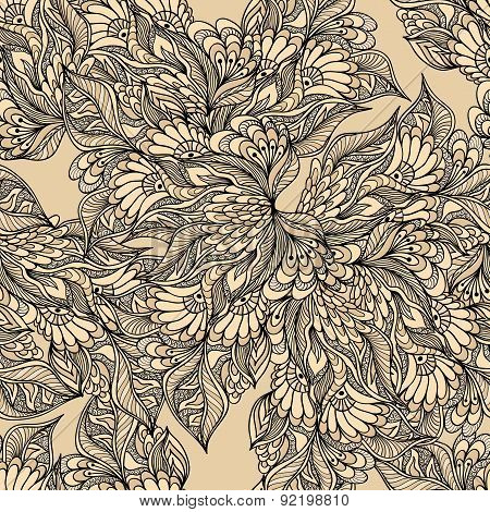 Seamless pattern with doodle flowers in beige