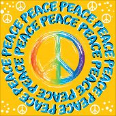 picture of peace-sign  - The word PEACE rotates around a peace symbol in an abstract background vector illustration of the illusory motion variety - JPG