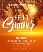picture of summer beach  - Hello Summer Beach Party Flyer - JPG