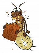 stock photo of wood pieces  - Cartoon termite eats piece of wood - JPG