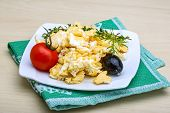 image of scrambled eggs  - Scrambled eggs with tomato dill and black olive - JPG