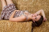 picture of country girl  - Pretty country girl in hay - JPG
