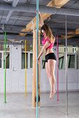 picture of pole dance  - Vertical view of woman during pole dance practice - JPG