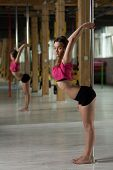image of pole dance  - Young flexible dancer training in pole dance class - JPG