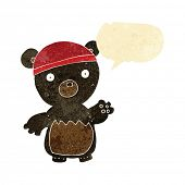 picture of crazy hat  - cartoon black bear wearing hat with speech bubble - JPG