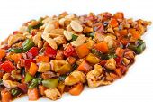 picture of chinese parsley  - steamed vegetables and meat with peanut - JPG