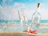 pic of ouzo  - Traditional Greek ouzo at the beach - JPG