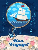 picture of bon voyage  - Illustration of a ship and an anchor - JPG