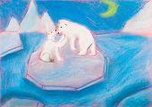 stock photo of bear cub  - children drawing  - JPG