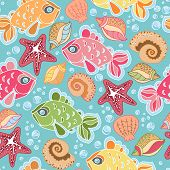picture of shell-fishes  - Hand drawn seamless fish pattern with starfish bubbles shells - JPG