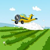 image of pesticide  - Cartoon aircraft spraying pesticides over the field - JPG