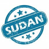 image of sudan  - Round rubber stamp with word SUDAN and stars - JPG