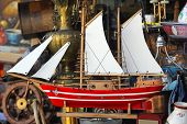 picture of flea  - Old Wooden Sail Ship Model at Flea Market - JPG