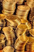 stock photo of golden coin  - Golden coins stacks business wealth and success concept - JPG