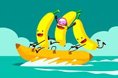 picture of boat  - Illustration of tree bananas riding banana boat in the sea - JPG