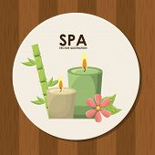 pic of unity candle  - spa design over wooden background vector illustration - JPG